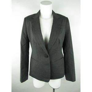 Attention Pinstripe One Button Blazer Jacket